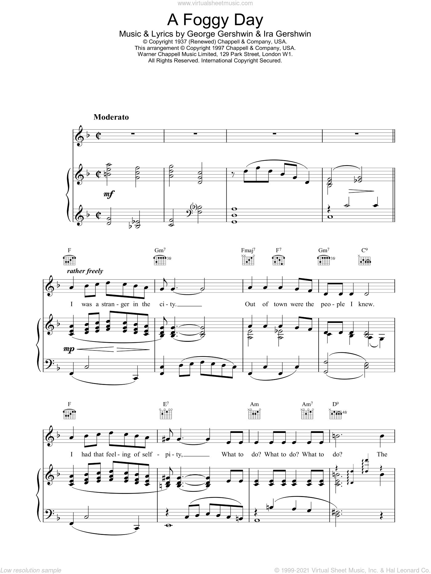 A Foggy Day (In London Town) sheet music for voice, piano or guitar by Frank Sinatra and George Gershwin, intermediate