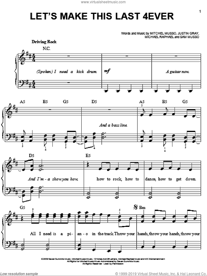 Let's Make This Last 4ever sheet music for piano solo by Sam Musso, Hannah Montana and Justin Gray. Score Image Preview.