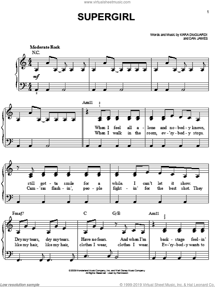 Supergirl sheet music for piano solo by Hannah Montana, Miley Cyrus, Dan James and Kara DioGuardi, easy