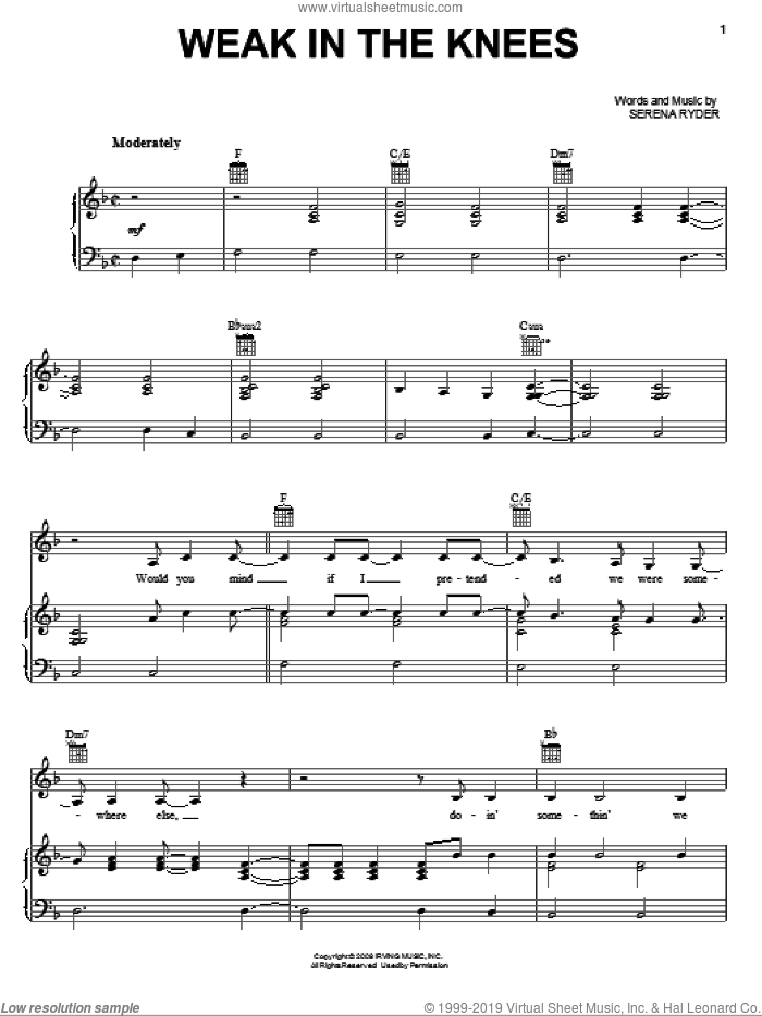 Weak In The Knees sheet music for voice, piano or guitar by Serena Ryder, intermediate skill level
