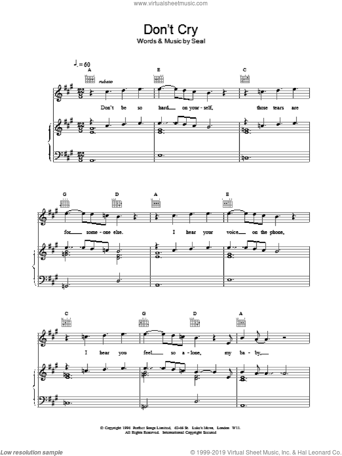 Don't Cry sheet music for voice, piano or guitar by Manuel Seal. Score Image Preview.