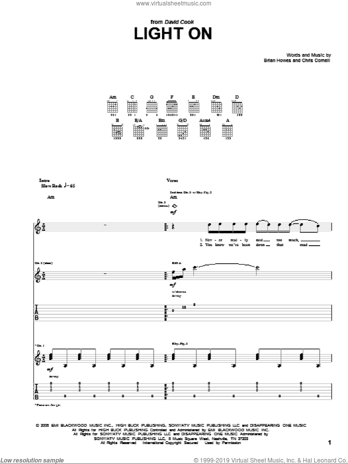 Light On sheet music for guitar (tablature) by David Cook, Brian Howes and Chris Cornell, intermediate skill level
