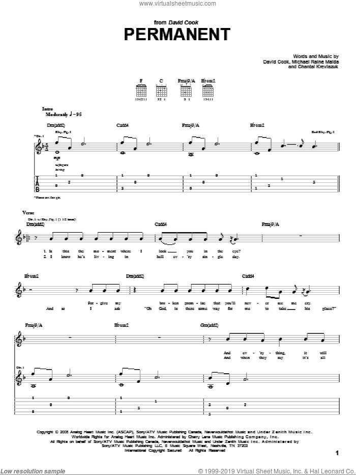 Permanent sheet music for guitar (tablature) by Michael Maida, Chantal Kreviazuk and David Cook. Score Image Preview.