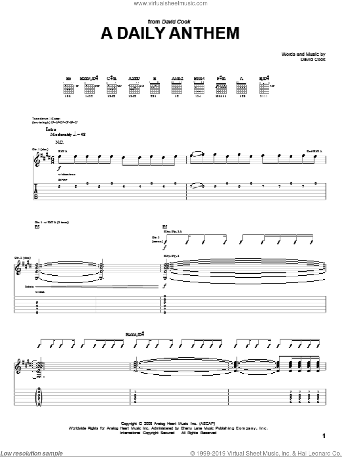 A Daily Anthem sheet music for guitar (tablature) by David Cook, intermediate skill level