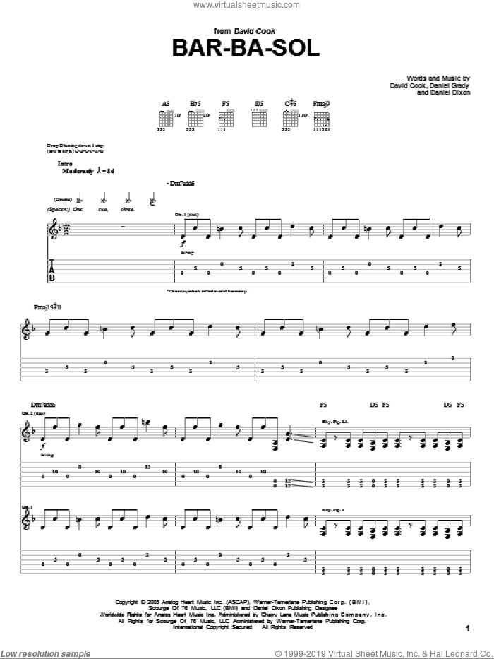 Bar-Ba-Sol sheet music for guitar (tablature) by Daniel Grady and David Cook. Score Image Preview.