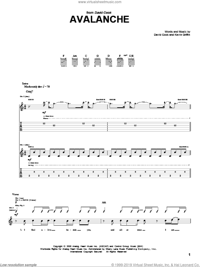 Avalanche sheet music for guitar (tablature) by Kevin Griffin