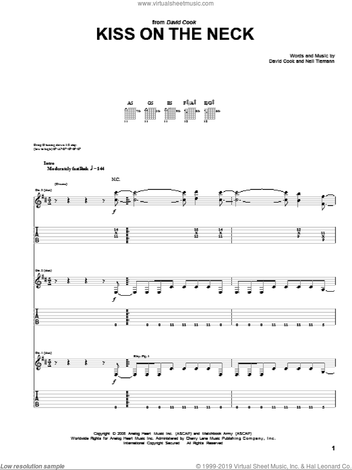 Kiss On The Neck sheet music for guitar (tablature) by Neil Tiemann and David Cook. Score Image Preview.