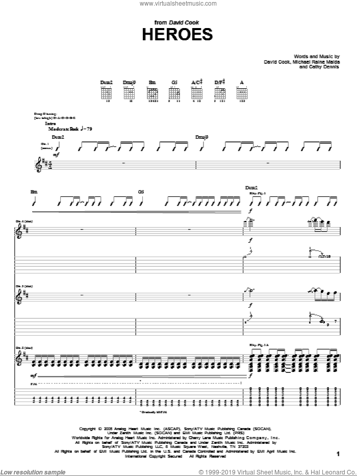 Heroes sheet music for guitar (tablature) by Raine Maida, Cathy Dennis and David Cook. Score Image Preview.