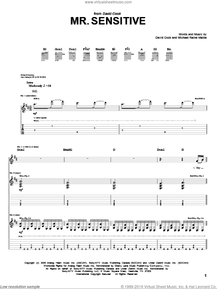 Mr. Sensitive sheet music for guitar (tablature) by Raine Maida and David Cook. Score Image Preview.
