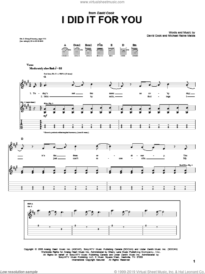 I Did It For You sheet music for guitar (tablature) by Raine Maida and David Cook. Score Image Preview.