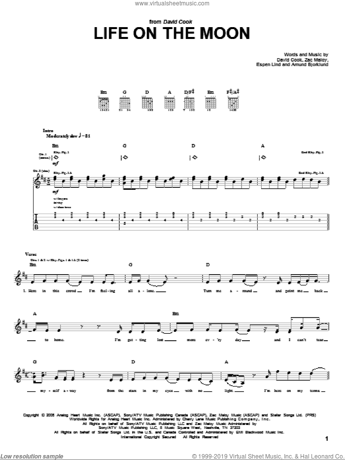 Life On The Moon sheet music for guitar (tablature) by David Cook and Zac Maloy, intermediate. Score Image Preview.