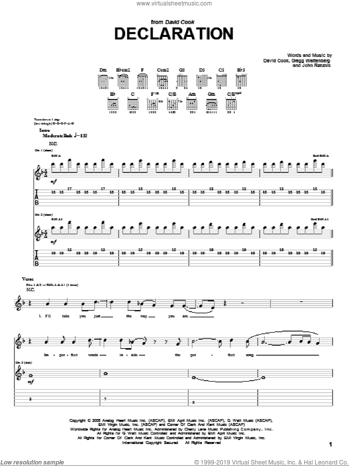 Declaration sheet music for guitar (tablature) by John Rzeznik, David Cook and Gregg Wattenberg. Score Image Preview.