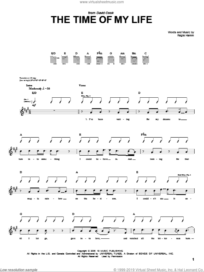 Time Of My Life sheet music for guitar (tablature) by Regie Hamm and David Cook. Score Image Preview.