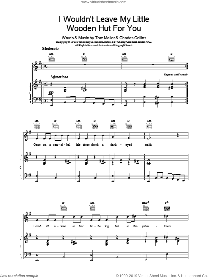 I Wouldn't Leave My Little Wooden Hut For You sheet music for voice, piano or guitar by Tom Mellor and Charles Collins, intermediate voice, piano or guitar. Score Image Preview.