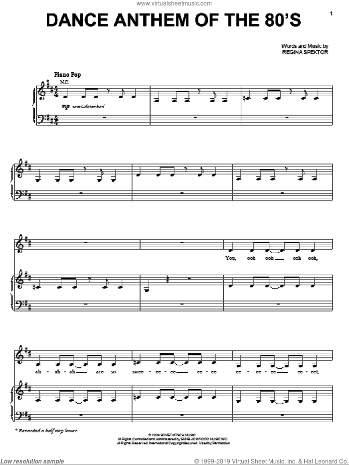 Dance Anthem Of The 80's sheet music for voice, piano or guitar by Regina Spektor. Score Image Preview.