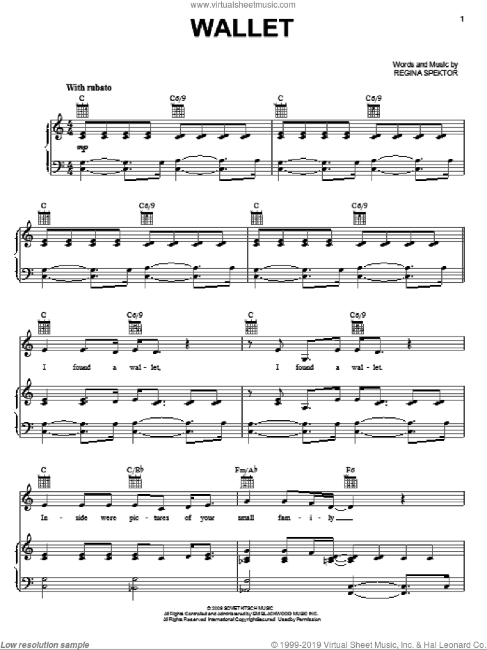 Wallet sheet music for voice, piano or guitar by Regina Spektor