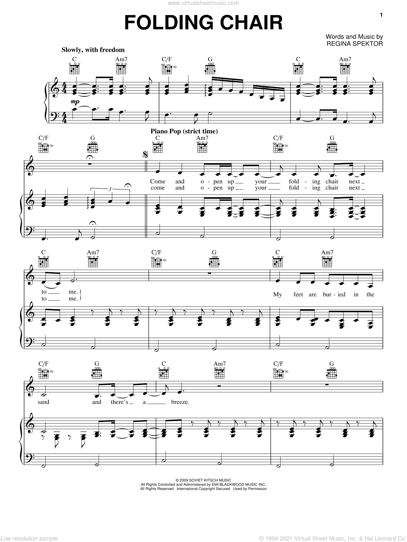 Folding Chair sheet music for voice, piano or guitar by Regina Spektor, intermediate skill level