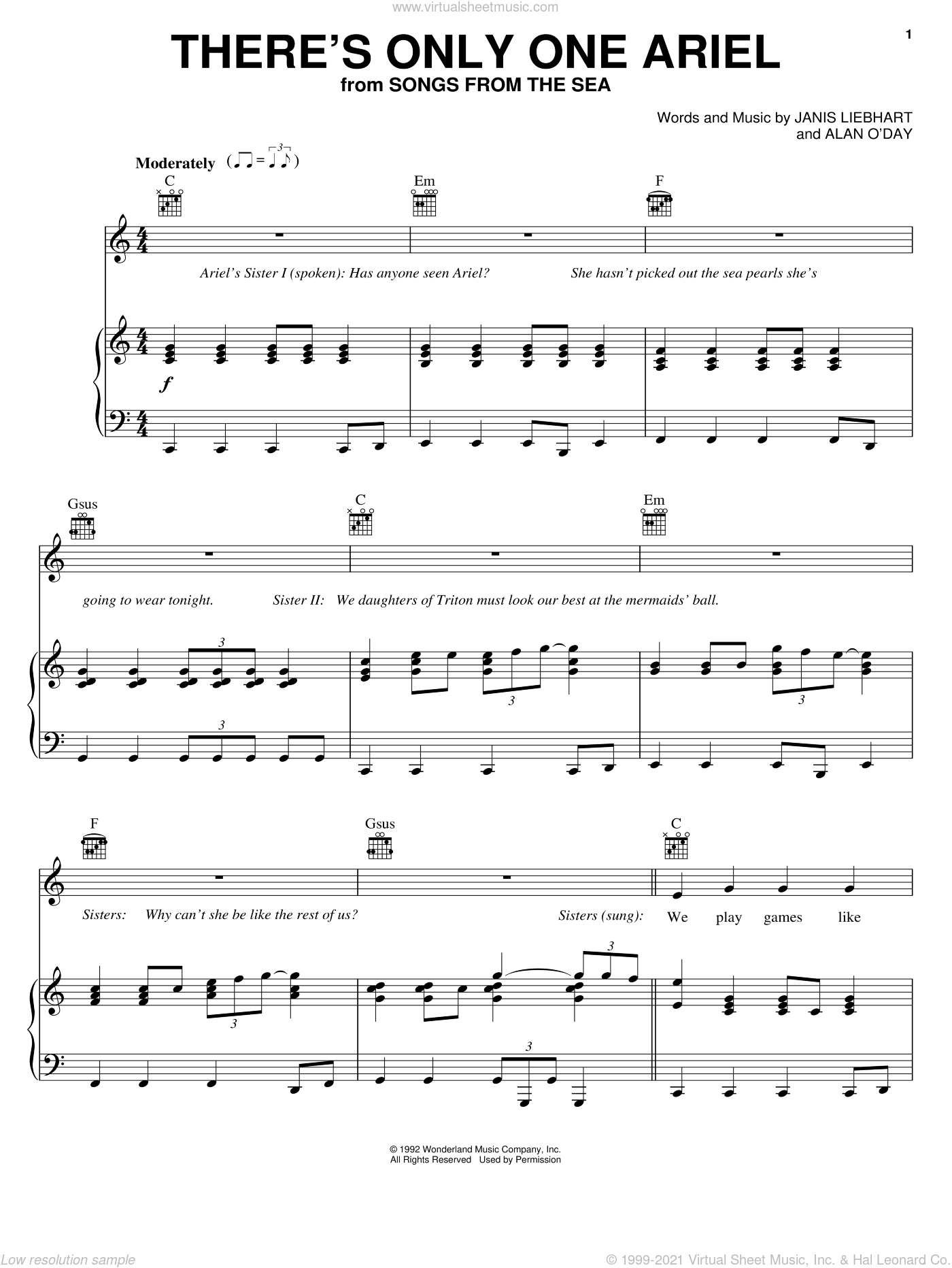 There's Only One Ariel sheet music for voice, piano or guitar by Alan O'Day and Janis Leibhart, intermediate skill level