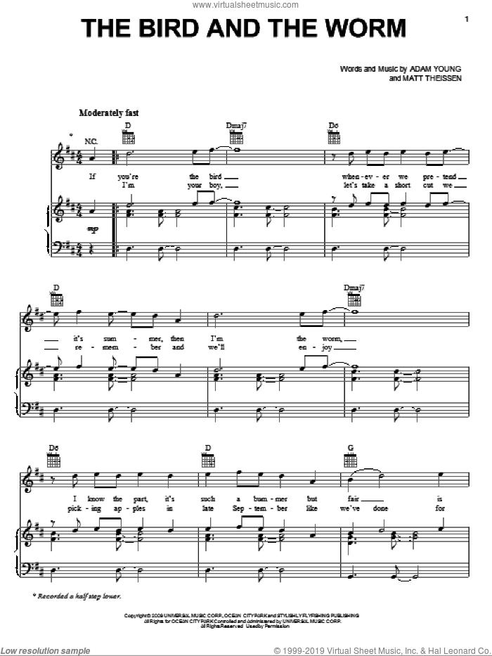 The Bird And The Worm sheet music for voice, piano or guitar by Owl City, Adam Young and Matt Theissen, intermediate skill level