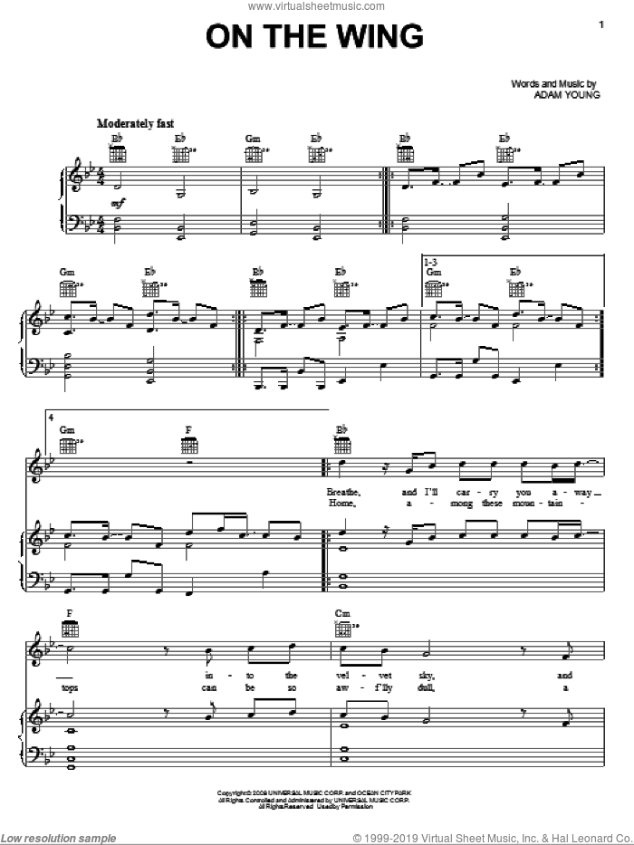 On The Wing sheet music for voice, piano or guitar by Owl City and Adam Young, intermediate skill level