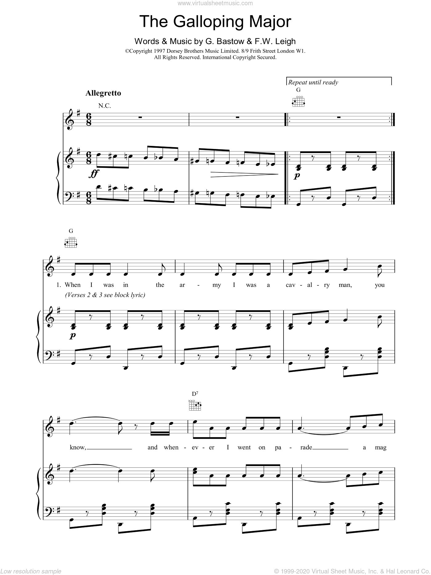 The Galloping Major sheet music for voice, piano or guitar by Fred W. Leigh. Score Image Preview.