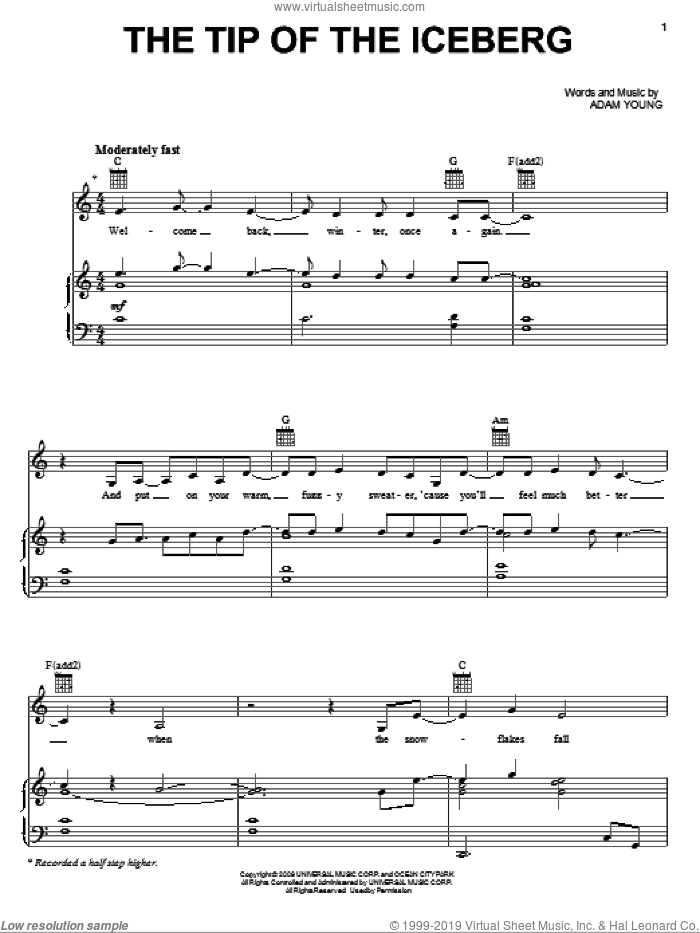 The Tip Of The Iceberg sheet music for voice, piano or guitar by Owl City and Adam Young, intermediate skill level