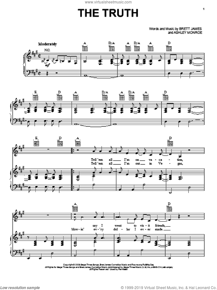 The Truth sheet music for voice, piano or guitar by Brett James, Jason Aldean and Ashley Monroe. Score Image Preview.