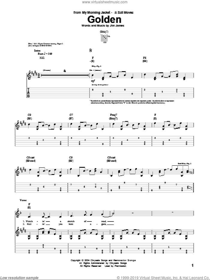 Golden sheet music for guitar (tablature) by Jim James. Score Image Preview.