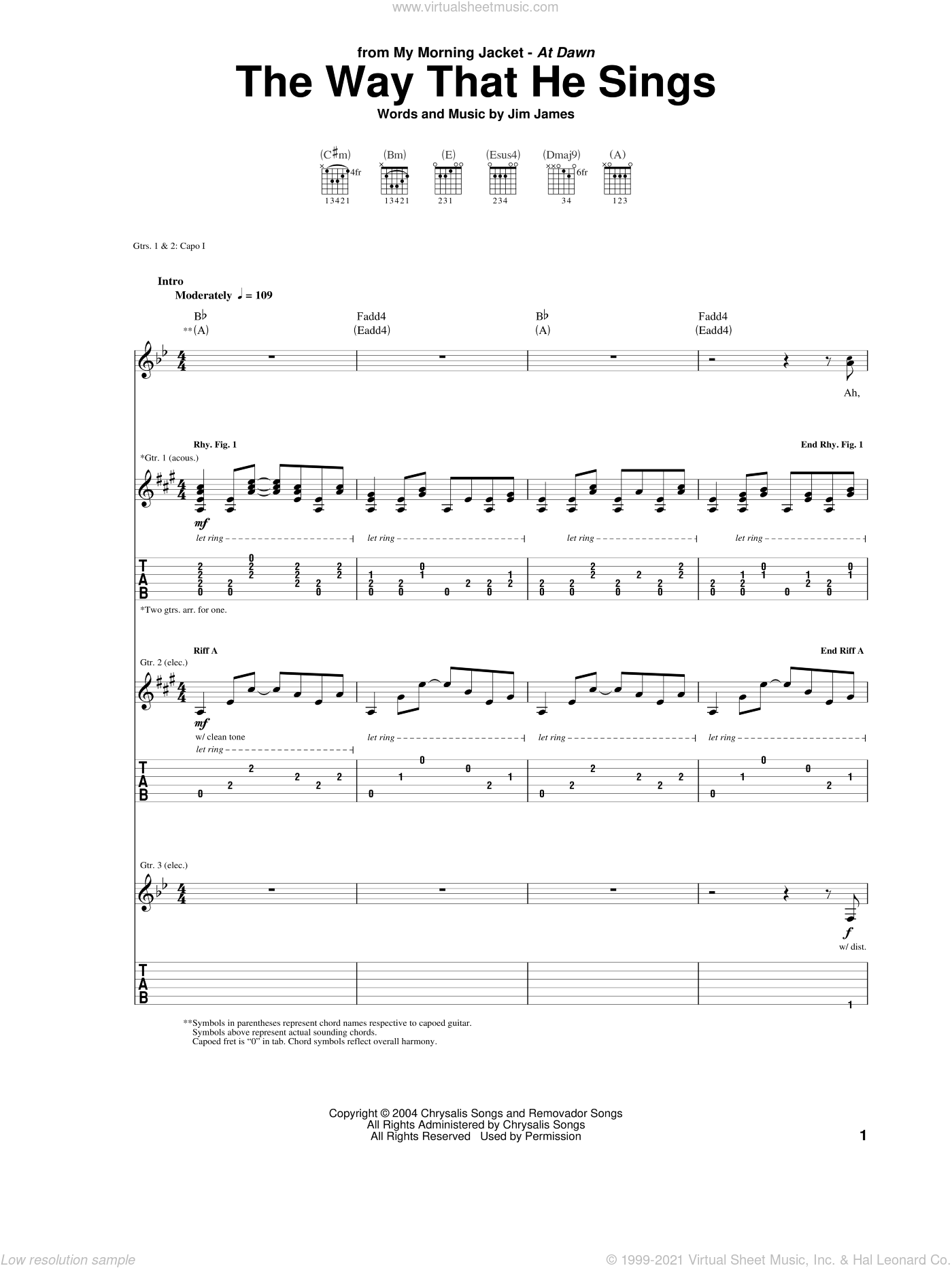 The Way That He Sings sheet music for guitar (tablature) by Jim James. Score Image Preview.