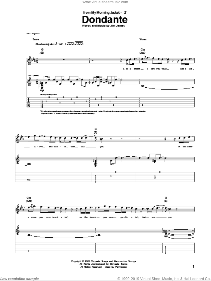 Dondante sheet music for guitar (tablature) by My Morning Jacket and Jim James, intermediate