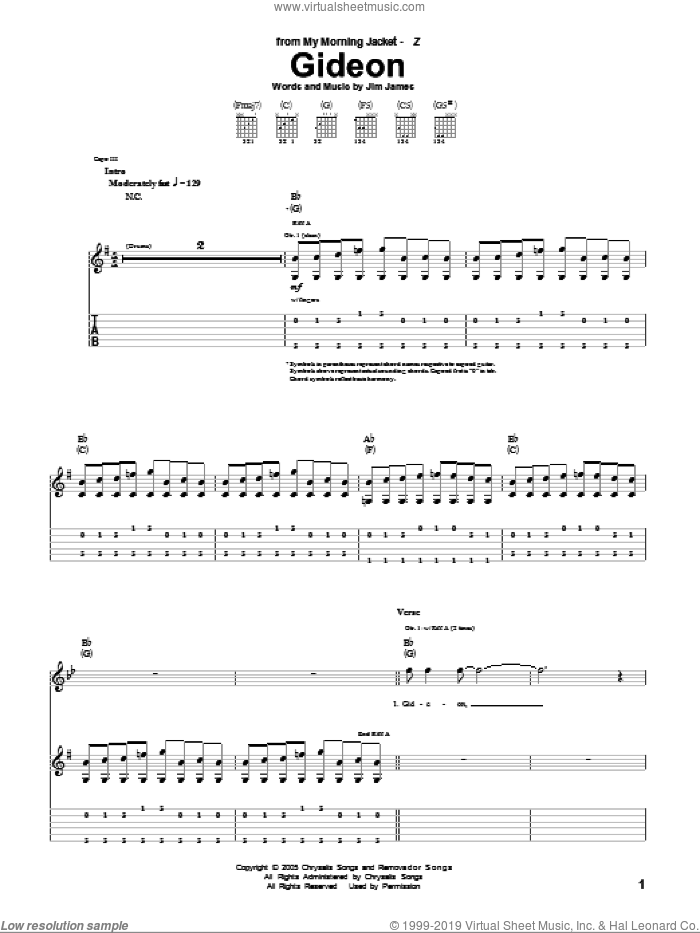 Gideon sheet music for guitar (tablature) by Jim James. Score Image Preview.