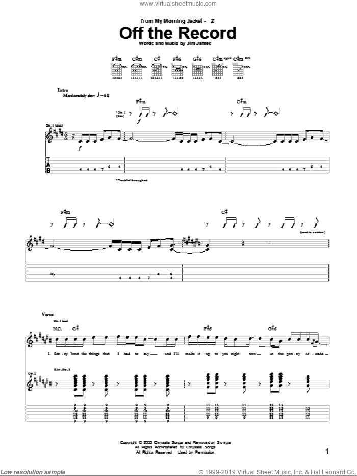 Off The Record sheet music for guitar (tablature) by My Morning Jacket. Score Image Preview.