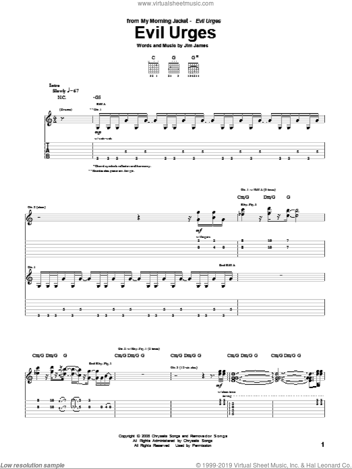 Evil Urges sheet music for guitar (tablature) by Jim James. Score Image Preview.