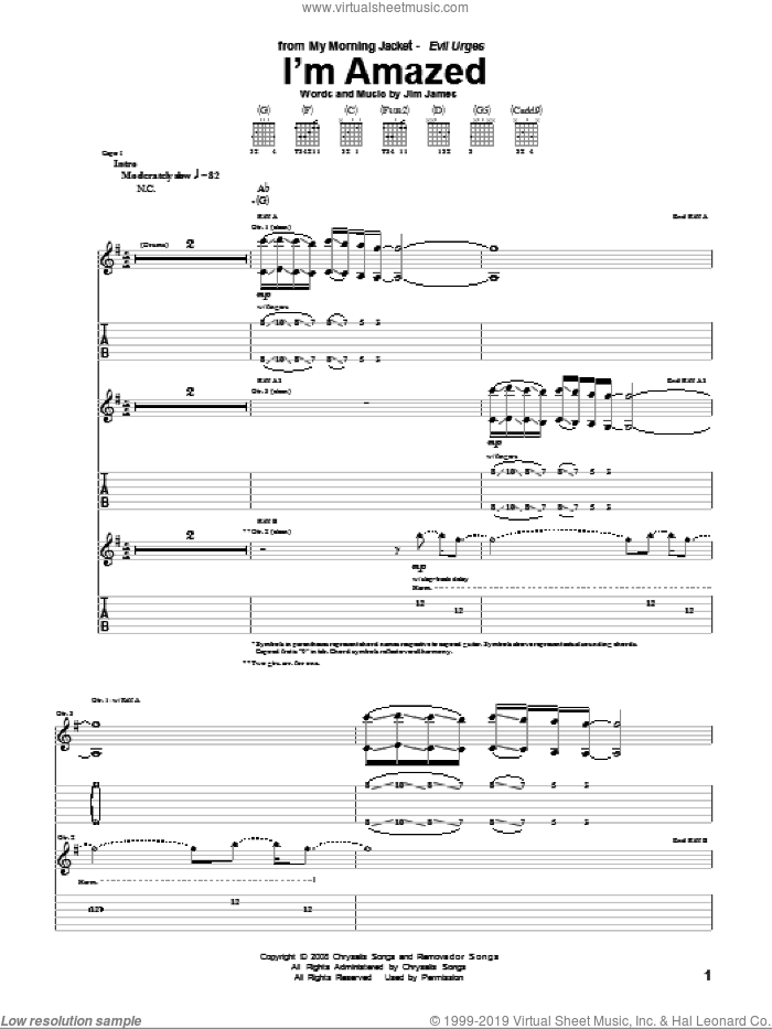 I'm Amazed sheet music for guitar (tablature) by Jim James. Score Image Preview.