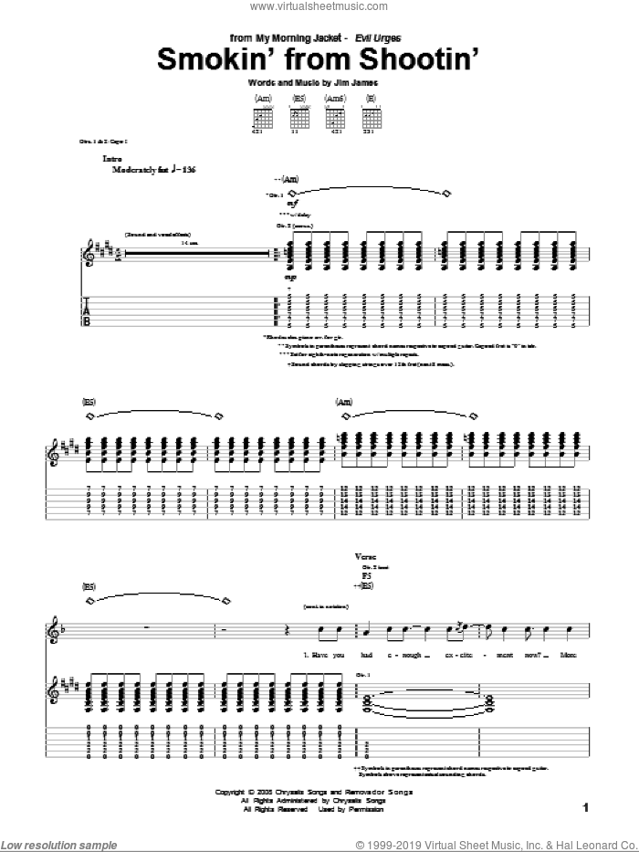 Smokin' From Shootin' sheet music for guitar (tablature) by My Morning Jacket and Jim James, intermediate skill level