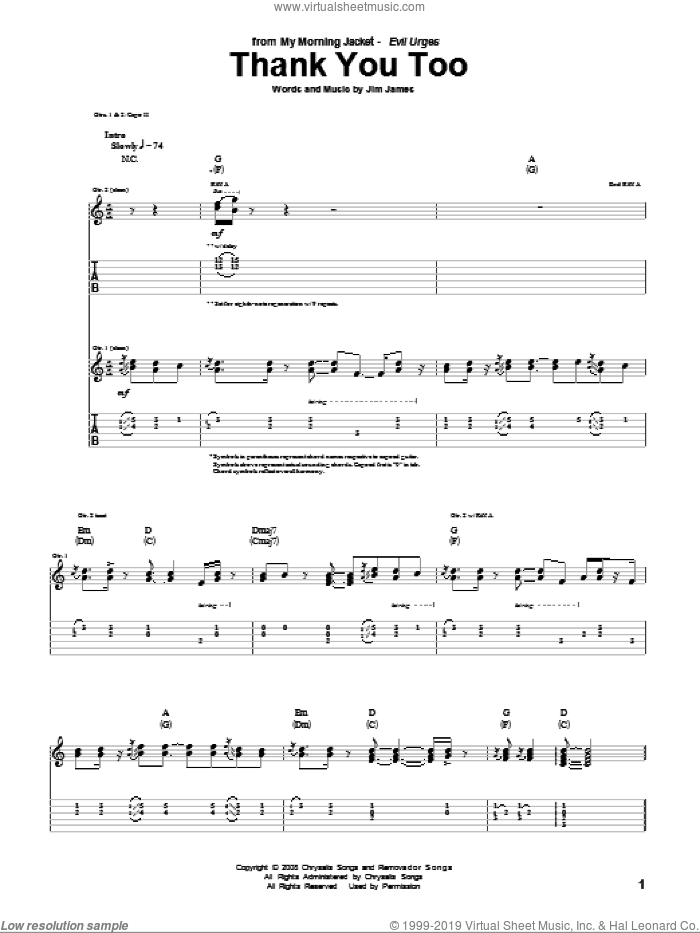 Thank You Too sheet music for guitar (tablature) by Jim James. Score Image Preview.