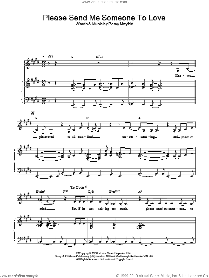 Please Send Me Someone To Love sheet music for voice, piano or guitar by Percy Mayfield and Sade. Score Image Preview.