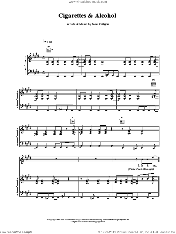 Cigarettes and Alcohol sheet music for voice, piano or guitar by Oasis and Noel Gallagher, intermediate. Score Image Preview.