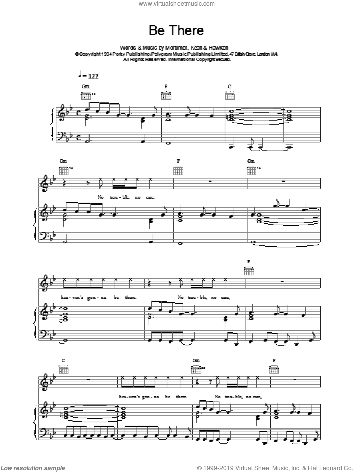 Be There sheet music for voice, piano or guitar by Tony Mortimer