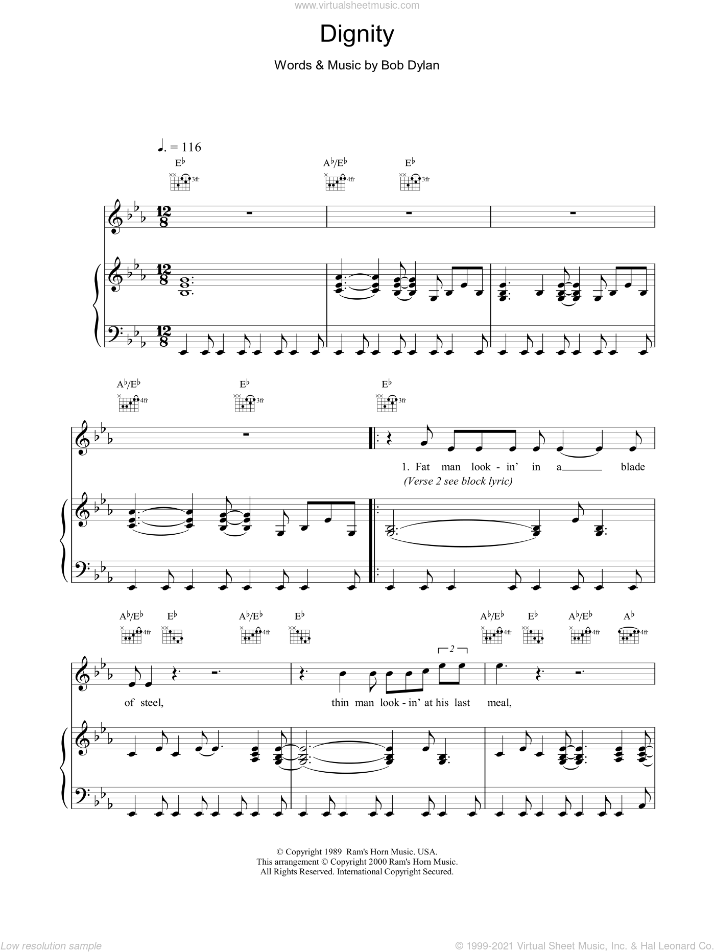 Dignity sheet music for voice, piano or guitar by Bob Dylan, intermediate. Score Image Preview.