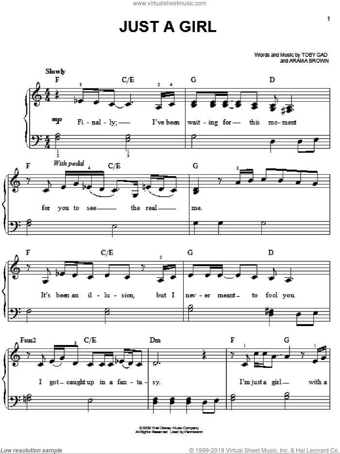 Just A Girl sheet music for piano solo by Toby Gad, Hannah Montana and Miley Cyrus. Score Image Preview.