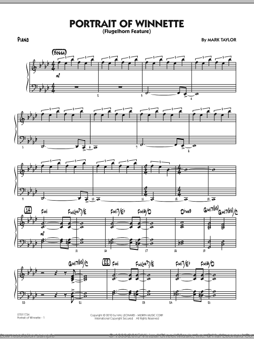 Portrait Of Winnette (COMPLETE) sheet music for jazz band by Mark Taylor