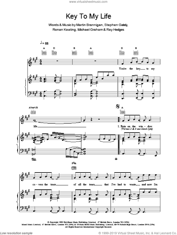 Key To My Life sheet music for voice, piano or guitar by Boyzone. Score Image Preview.