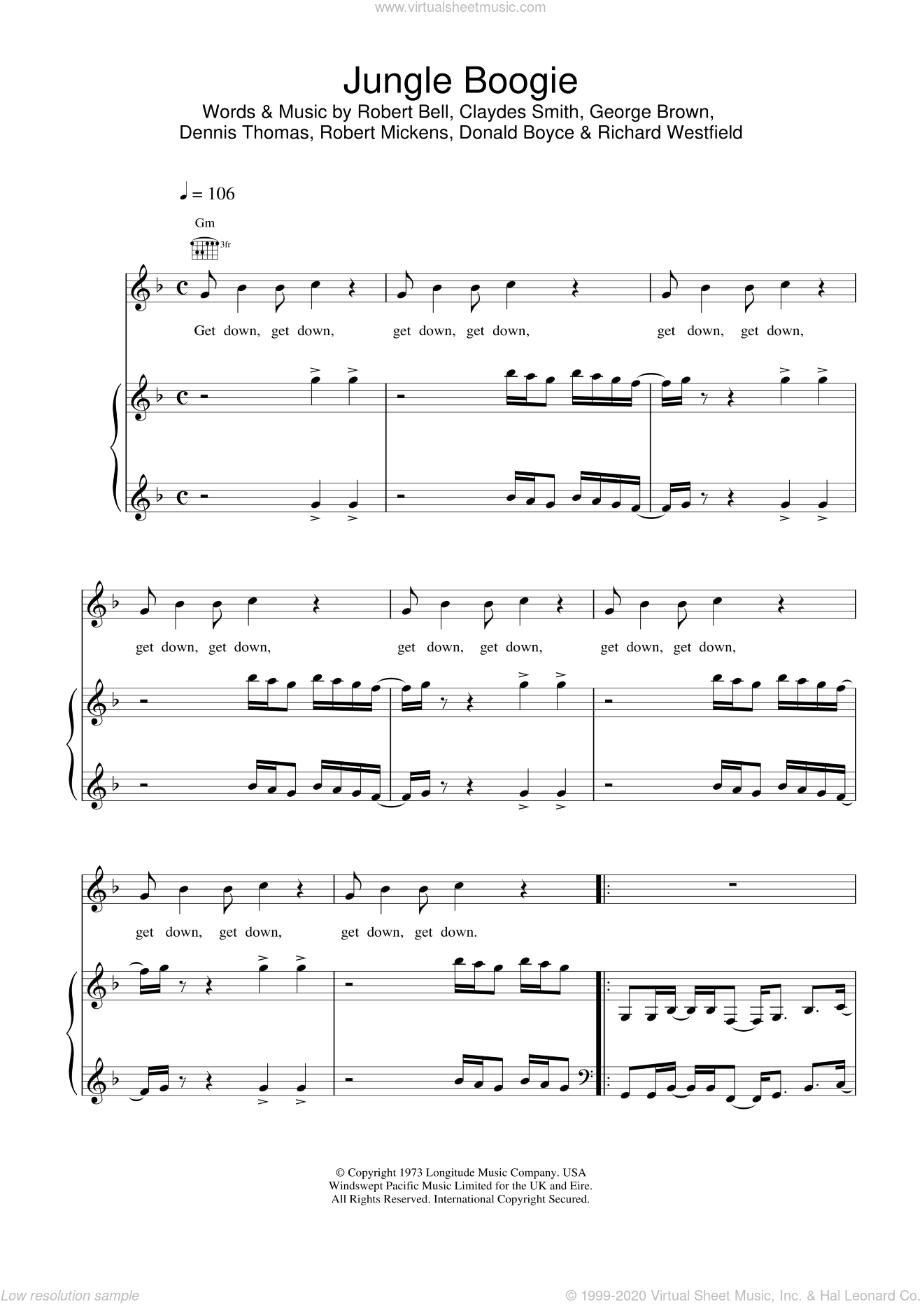 Jungle Boogie sheet music for voice, piano or guitar by Kool And The Gang and Bell,Bell,Smith,Brown,Thomas,Mickens,Boyce&Westfield, intermediate skill level