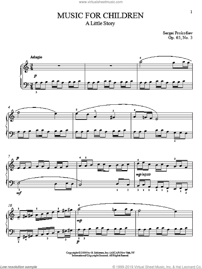 A Little Story sheet music for piano solo by Sergei Prokofiev, Jeffrey Biegel and Matthew Edwards, classical score, intermediate skill level