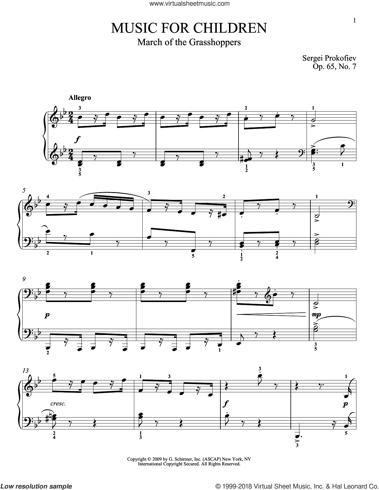 March Of The Grasshoppers sheet music for piano solo by Sergei Prokofiev and Matthew Edwards, classical score, intermediate. Score Image Preview.