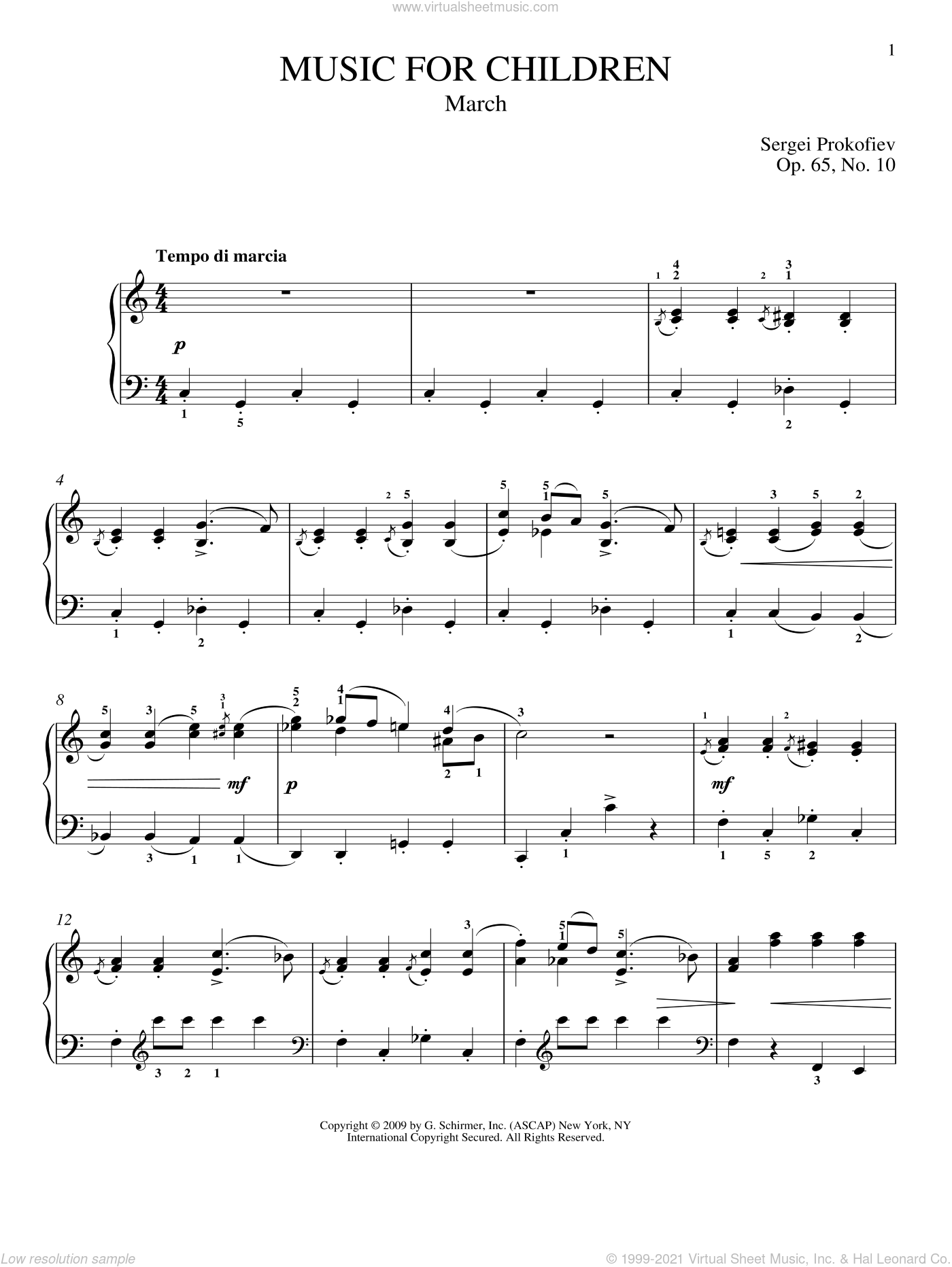 March sheet music for piano solo by Sergei Prokofiev