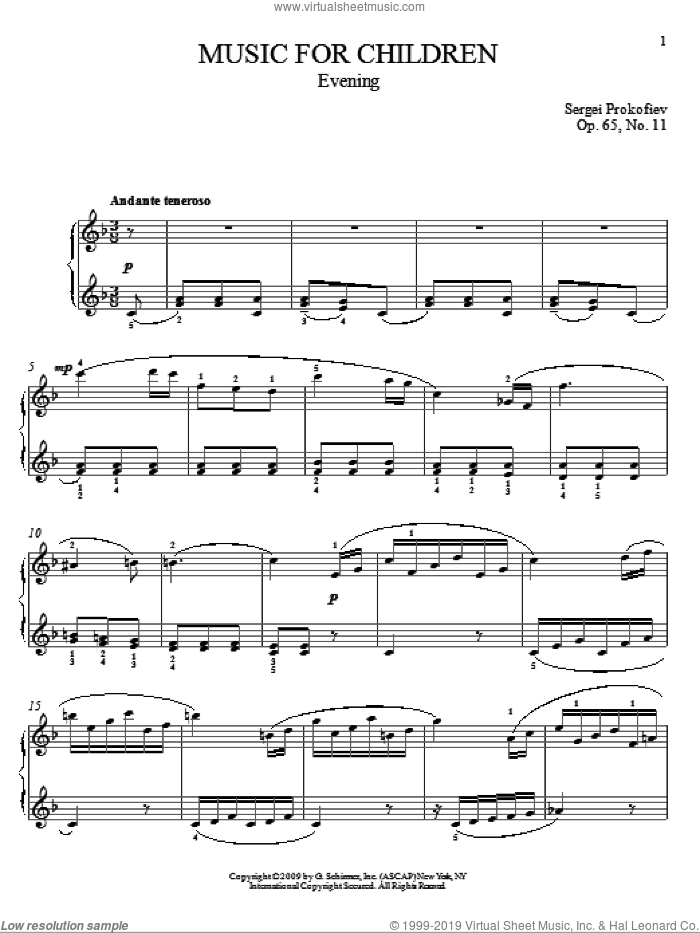 Evening sheet music for piano solo by Sergei Prokofiev and Matthew Edwards, classical score, intermediate piano. Score Image Preview.