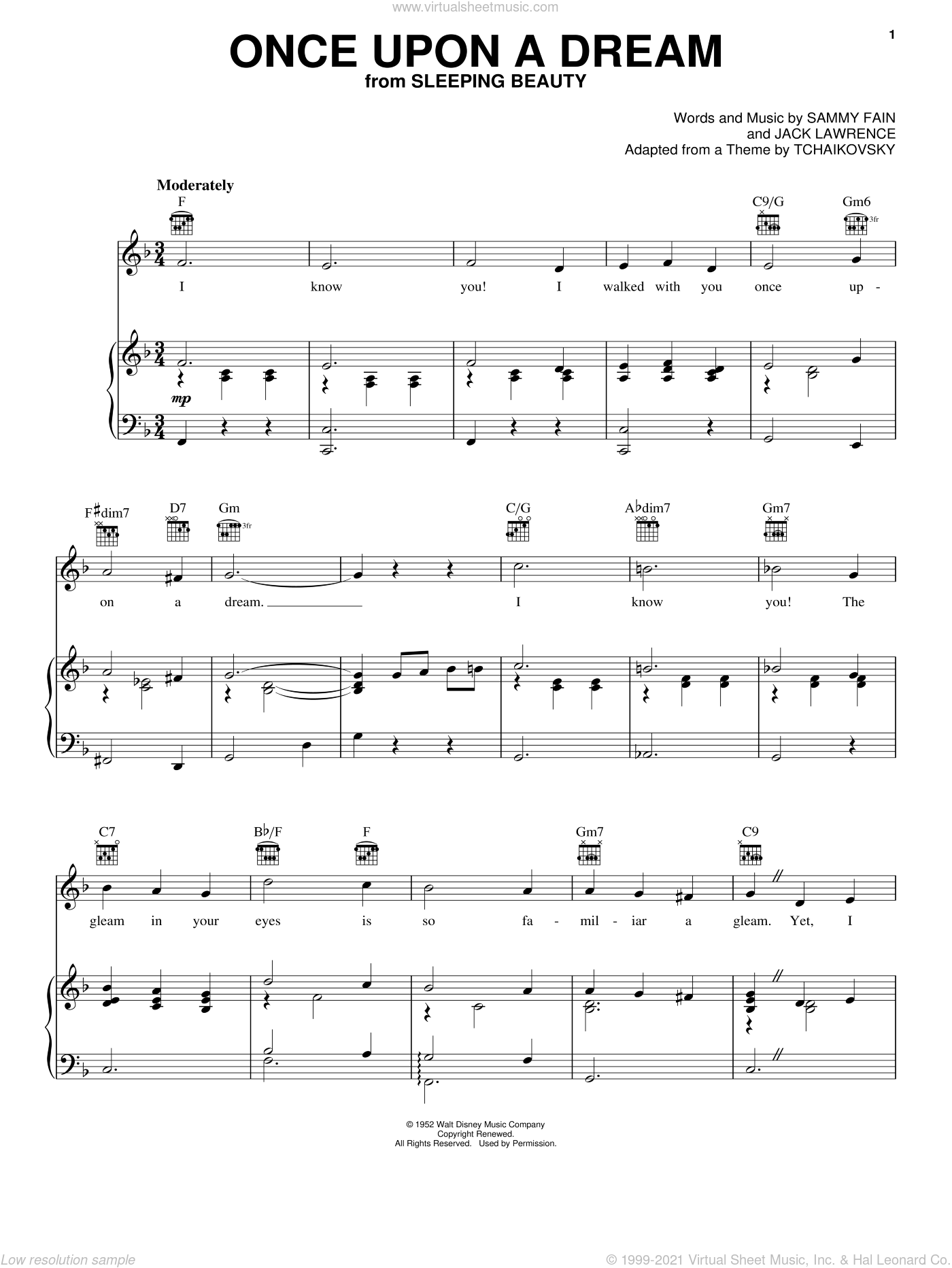 Once Upon A Dream sheet music for voice, piano or guitar by Sammy Fain and Jack Lawrence, intermediate skill level