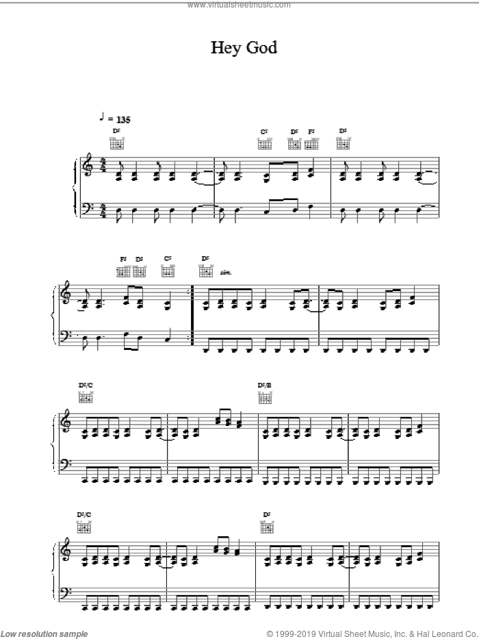 Hey God sheet music for voice, piano or guitar by RICHIE SAMBORA and Bon Jovi. Score Image Preview.